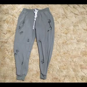 Rue21 Olive Lace-Up Joggers with Holes